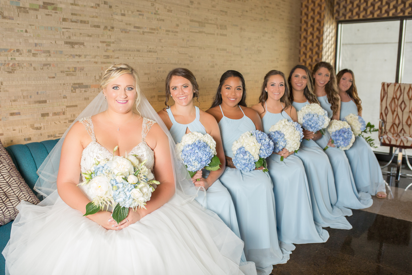Light blue bridesmaid dresses: Charming & Fun Hutton Hotel Nashville Wedding