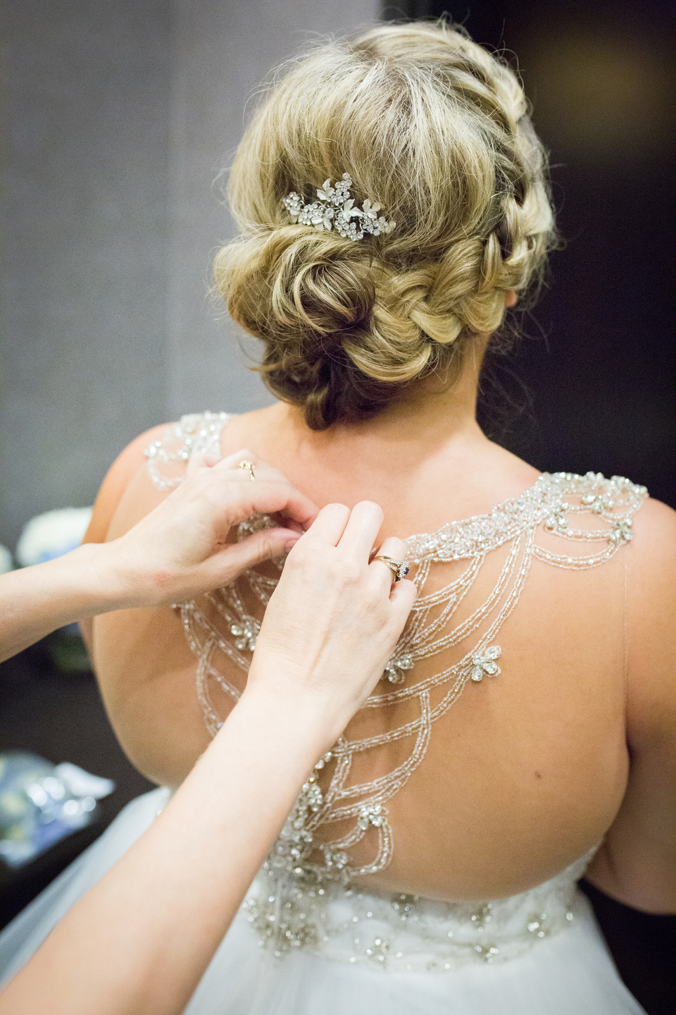 Wedding dress back details: Charming & Fun Hutton Hotel Nashville Wedding