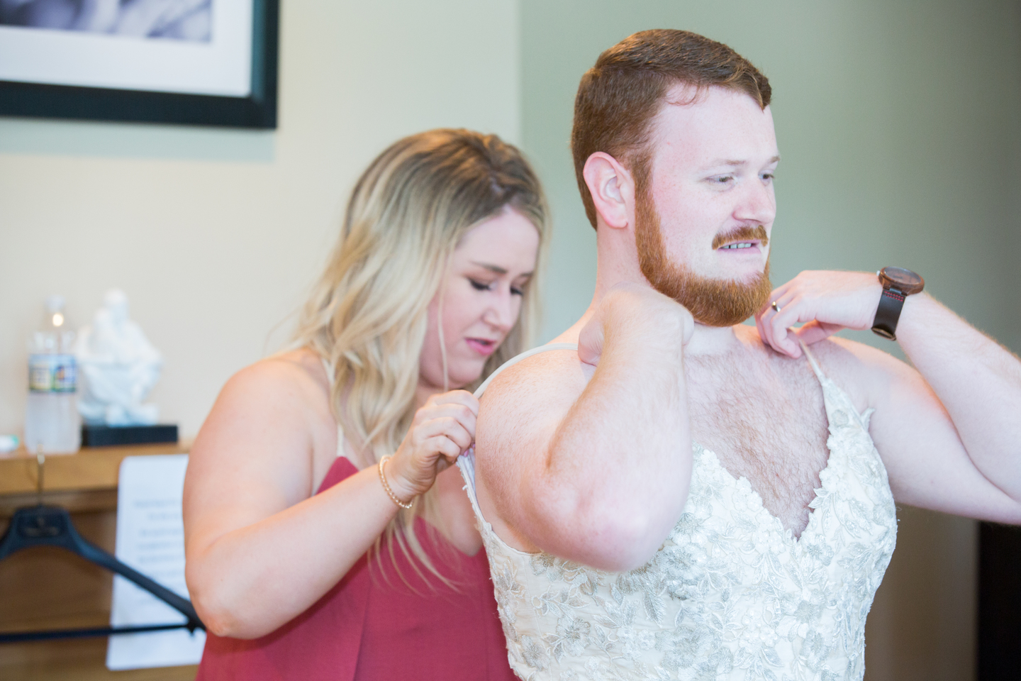 Funny first look: Charming & Fun Hutton Hotel Nashville Wedding