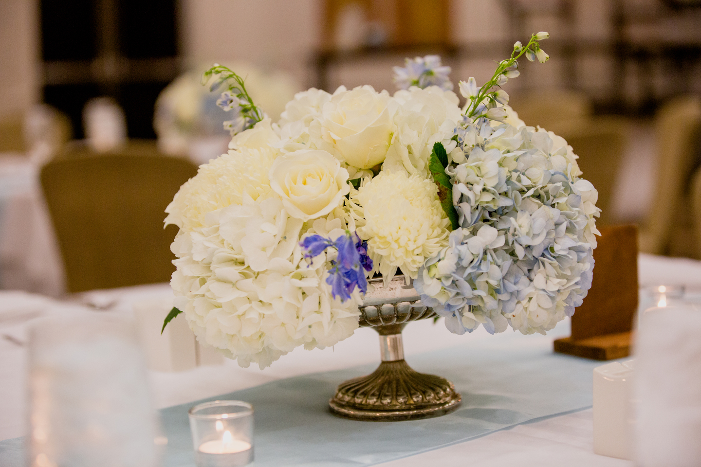 Blue and white wedding centerpieces: Charming & Fun Hutton Hotel Nashville Wedding