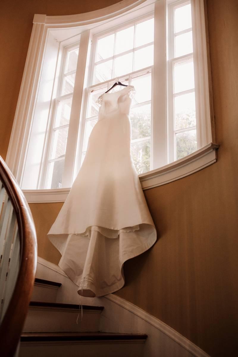 Wedding dress portrait: military wedding featured on Nashville Bride Guide