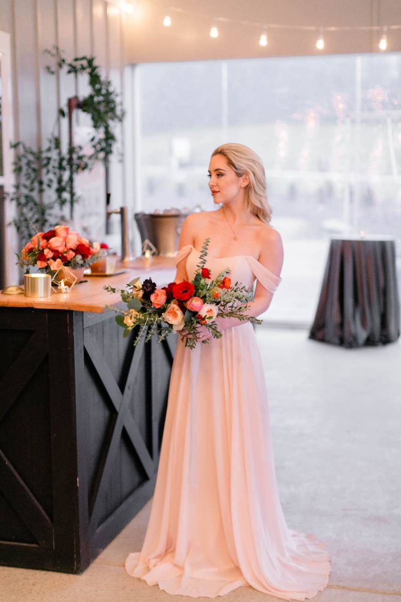 Blush off the shoulder bridesmaid dress: Bella Bridesmaids Dress Color Trend Predictions on Nashville Bride Guide