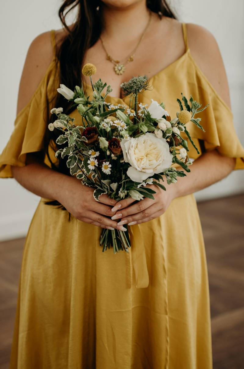 Bridesmaid bouquet with mustard bridesmaid dress: Bridal shoes: Nashville Tennessee Styled Shoots Across America Wedding Inspiration