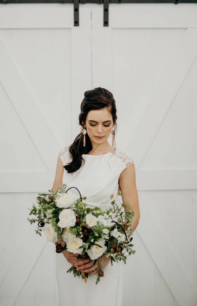White and greenery wedding bouquet: Bridal shoes: Nashville Tennessee Styled Shoots Across America Wedding Inspiration