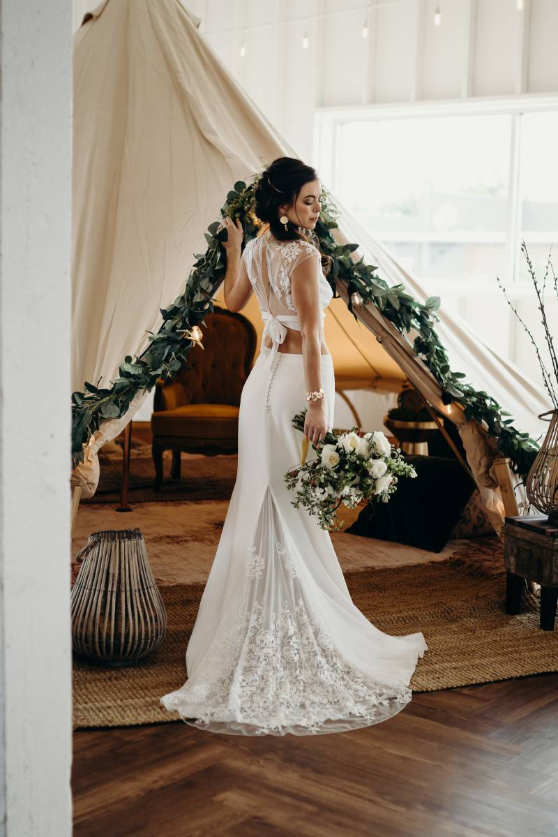 Two piece wedding dress: Bridal shoes: Nashville Tennessee Styled Shoots Across America Wedding Inspiration