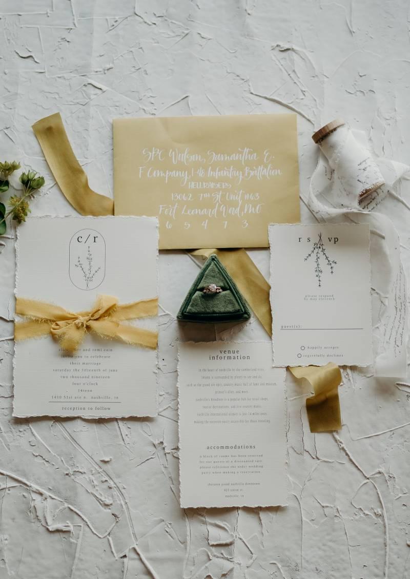 Mustard & Greenery wedding stationery: Bridal shoes: Nashville Tennessee Styled Shoots Across America Wedding Inspiration