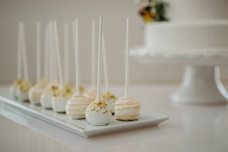 White and gold wedding cake pops: Bridal shoes: Nashville Tennessee Styled Shoots Across America Wedding Inspiration