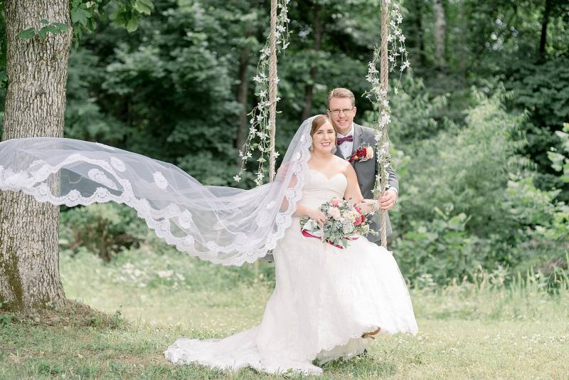 Outdoor wedding portrait on swing: Hidden Creek Farm Wedding featured on Nashville Bride Guide
