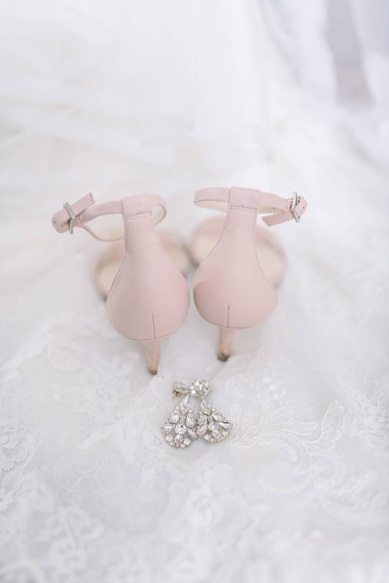 Blush pink wedding shoes: Hidden Creek Farm Wedding featured on Nashville Bride Guide