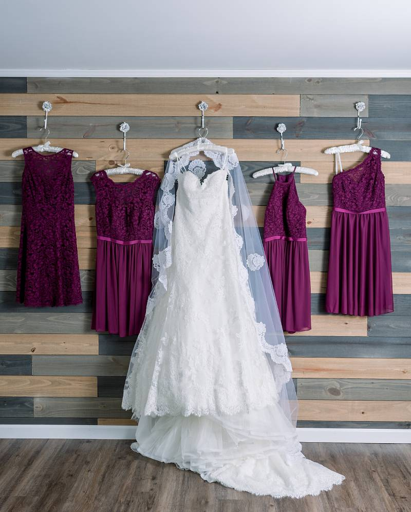 Burgundy bridesmaid dresses: Hidden Creek Farm Wedding featured on Nashville Bride Guide