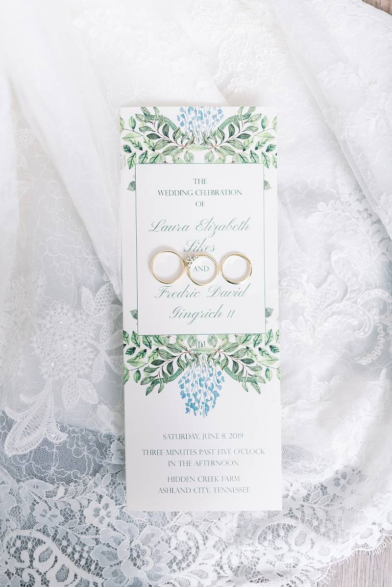 Greenery and blue wedding invitations: Hidden Creek Farm Wedding featured on Nashville Bride Guide