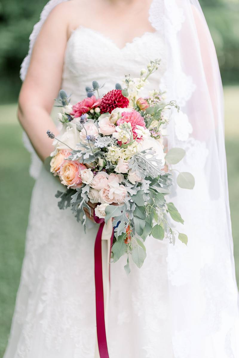 Multi-colored wedding bouquet: Hidden Creek Farm Wedding featured on Nashville Bride Guide