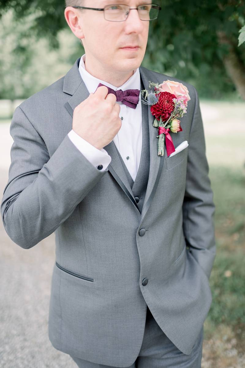 Gray and red grooms attire: Hidden Creek Farm Wedding featured on Nashville Bride Guide