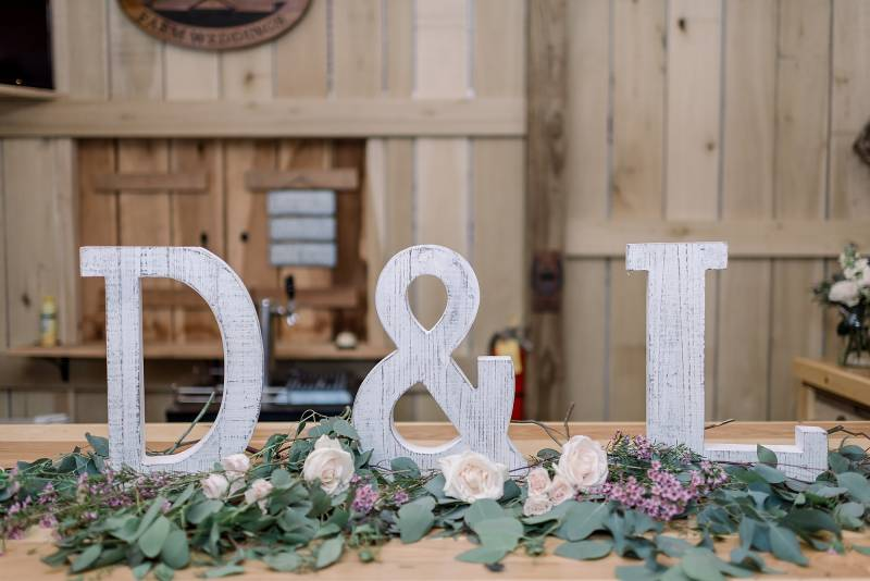 Wedding reception initial decor: Hidden Creek Farm Wedding featured on Nashville Bride Guide