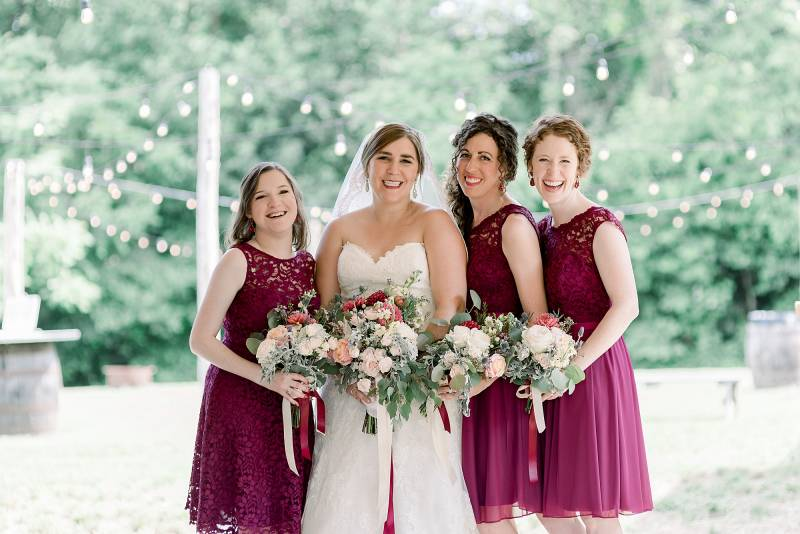 Merlot bridesmaid dresses: Hidden Creek Farm Wedding featured on Nashville Bride Guide