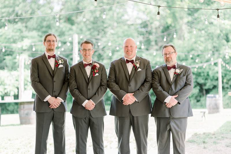Gray and burgundy groomsmen attire: Hidden Creek Farm Wedding featured on Nashville Bride Guide
