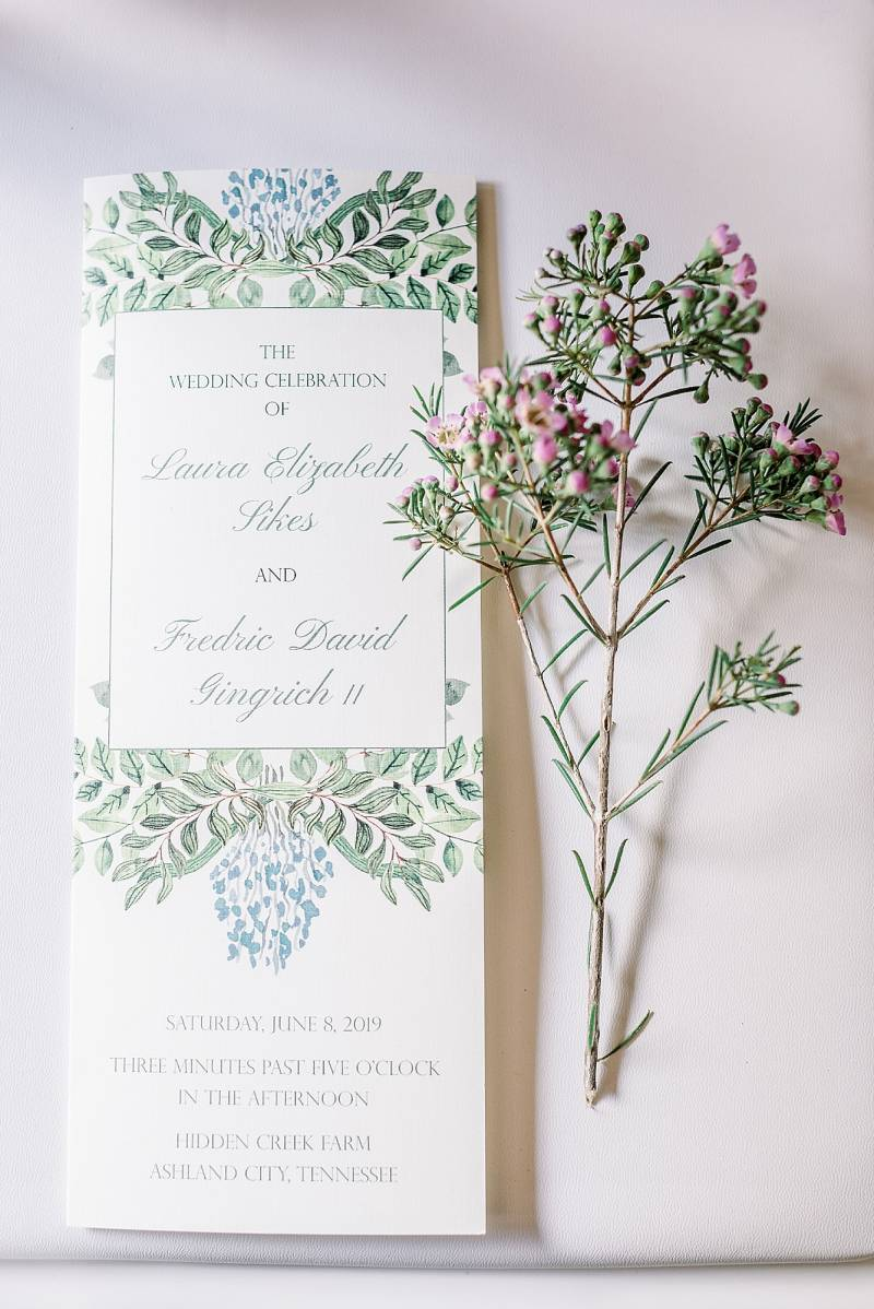 Greenery wedding invitation design: Hidden Creek Farm Wedding featured on Nashville Bride Guide