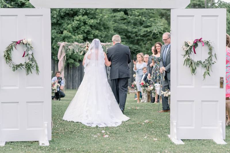 Wedding ceremony entrance: Hidden Creek Farm Wedding featured on Nashville Bride Guide