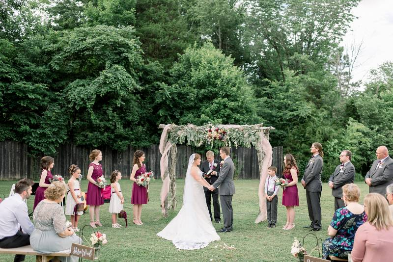 Outdoor wedding ceremony: Hidden Creek Farm Wedding featured on Nashville Bride Guide