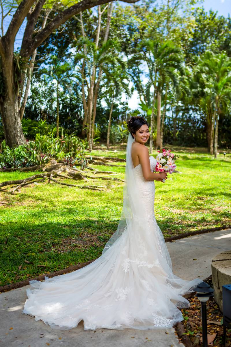 Strapless, lace wedding dress: Belize destination wedding featured on Nashville Bride Guide