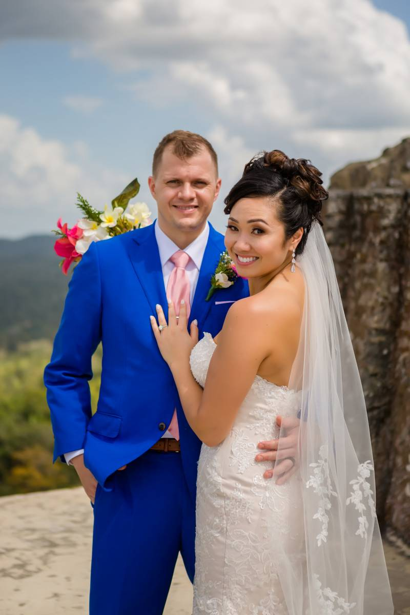 Royal blue wedding tuxedo: Belize destination wedding featured on Nashville Bride Guide