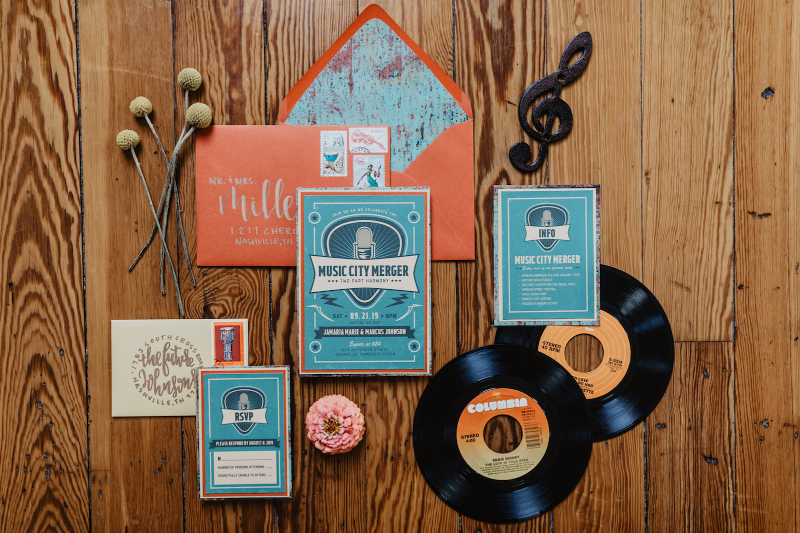 Creative wedding stationery for Music City Styled Shoot featured on Nashville Bride Guide