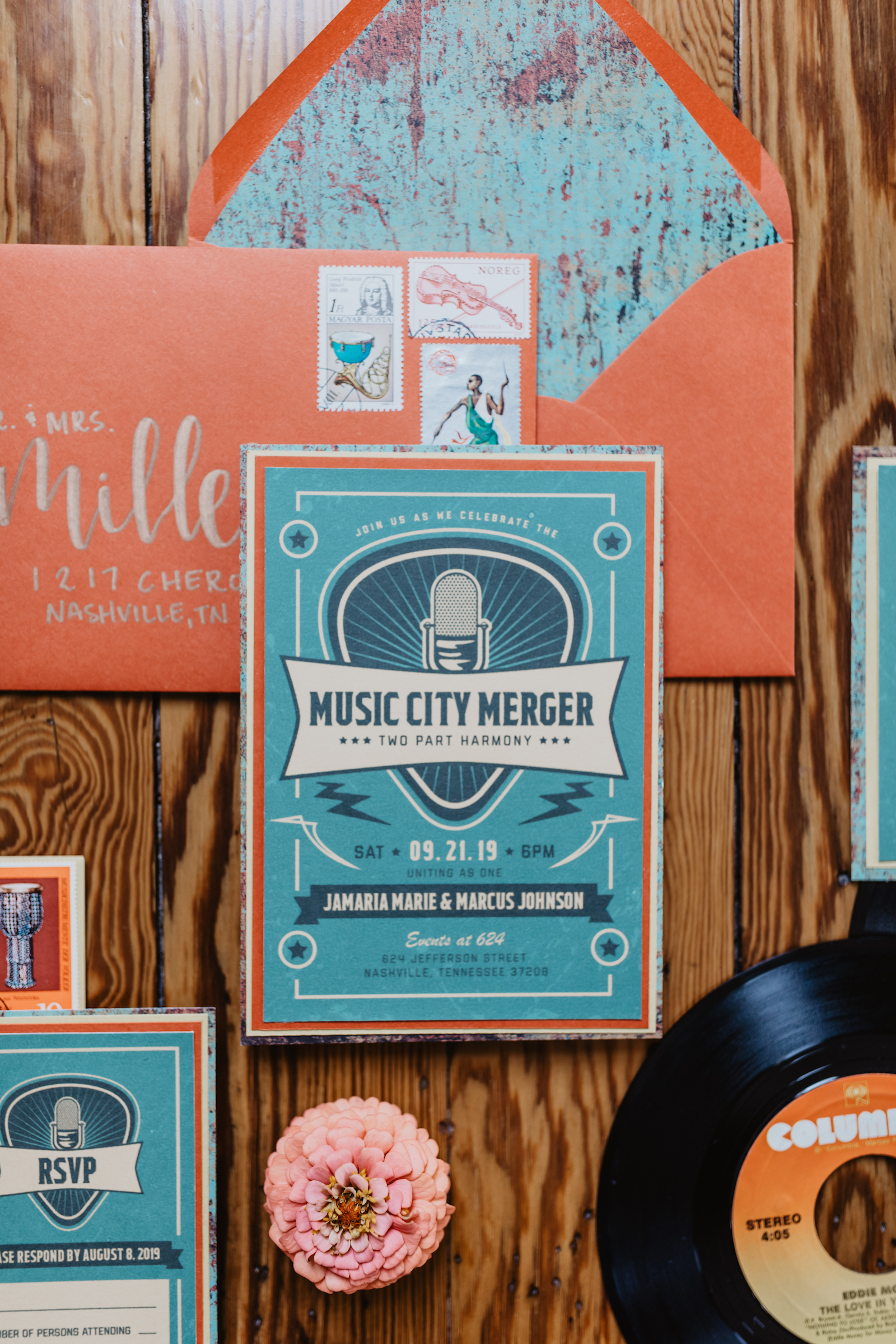 Music City Merger wedding styled shoot wedding stationery featured on Nashville Bride Guide