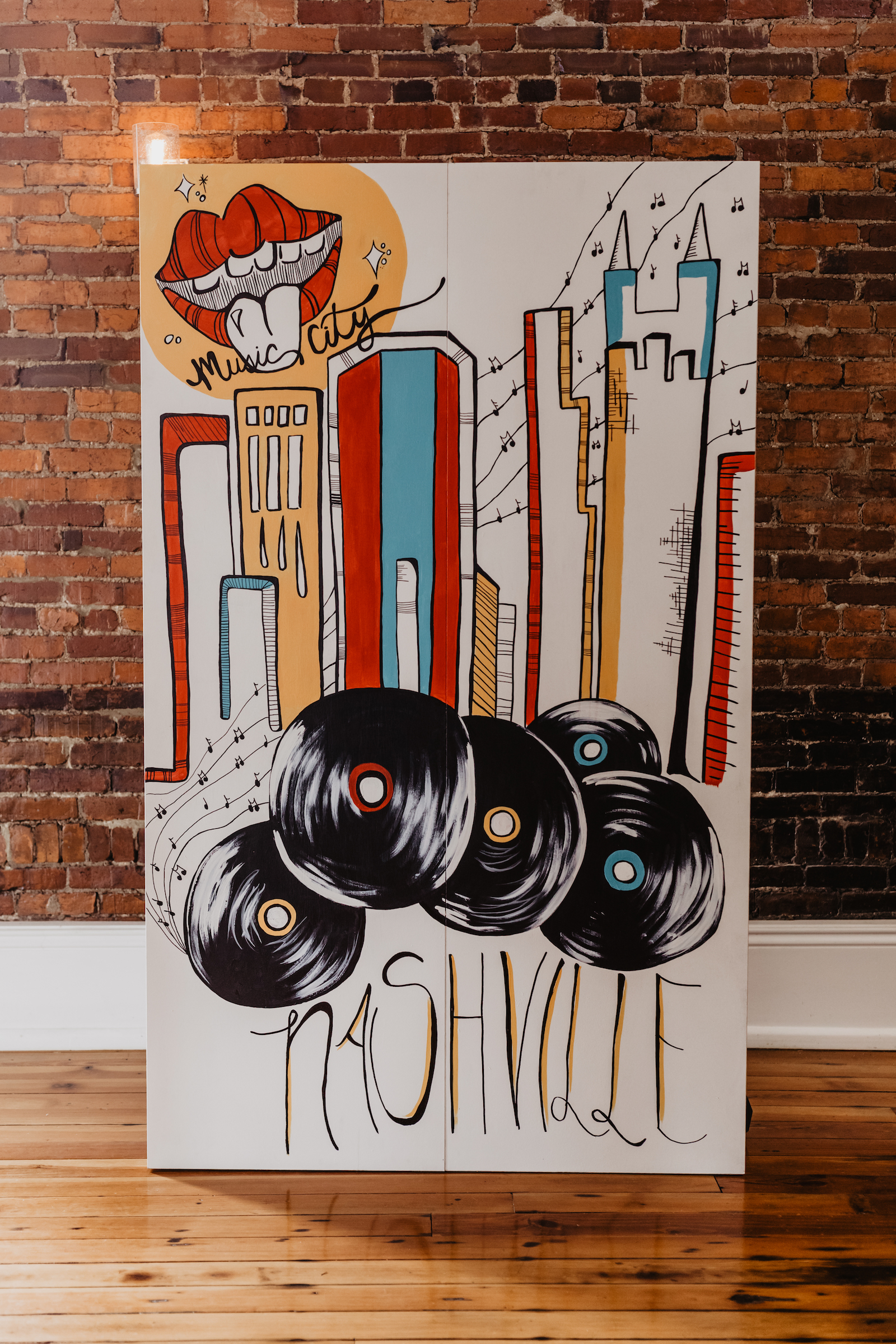 Nashville wedding mural: Music City Merger Styled Shoot featured on Nashville Bride Guide
