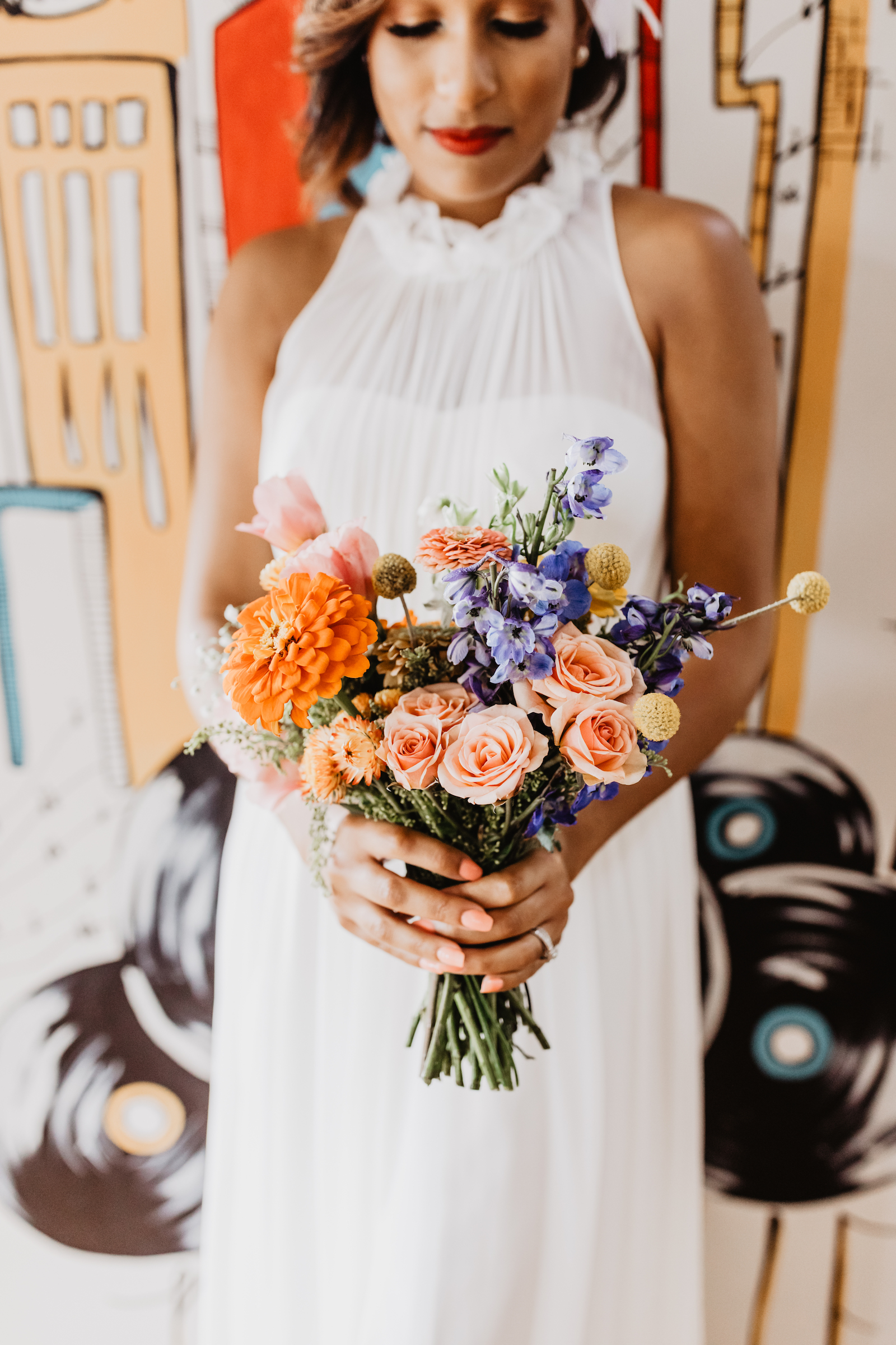 Colorful wedding bouquet: Music City Merger Styled Shoot featured on Nashville Bride Guide