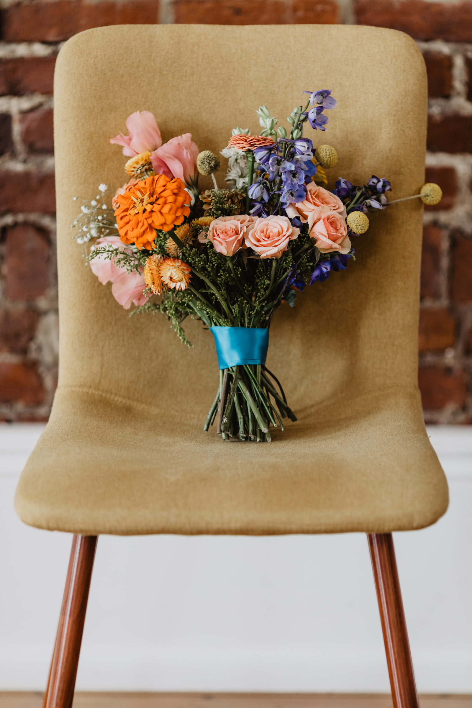 Colorful wedding bouquet for styled shoot featured on Nashville Bride Guide