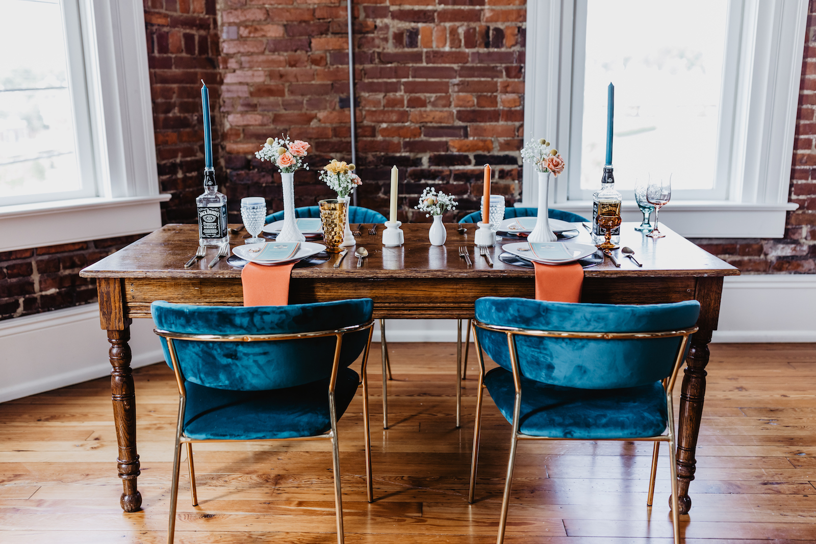 Teal and orange wedding table decor: for Music City Merger styled shoot featured on Nashville Bride Guide