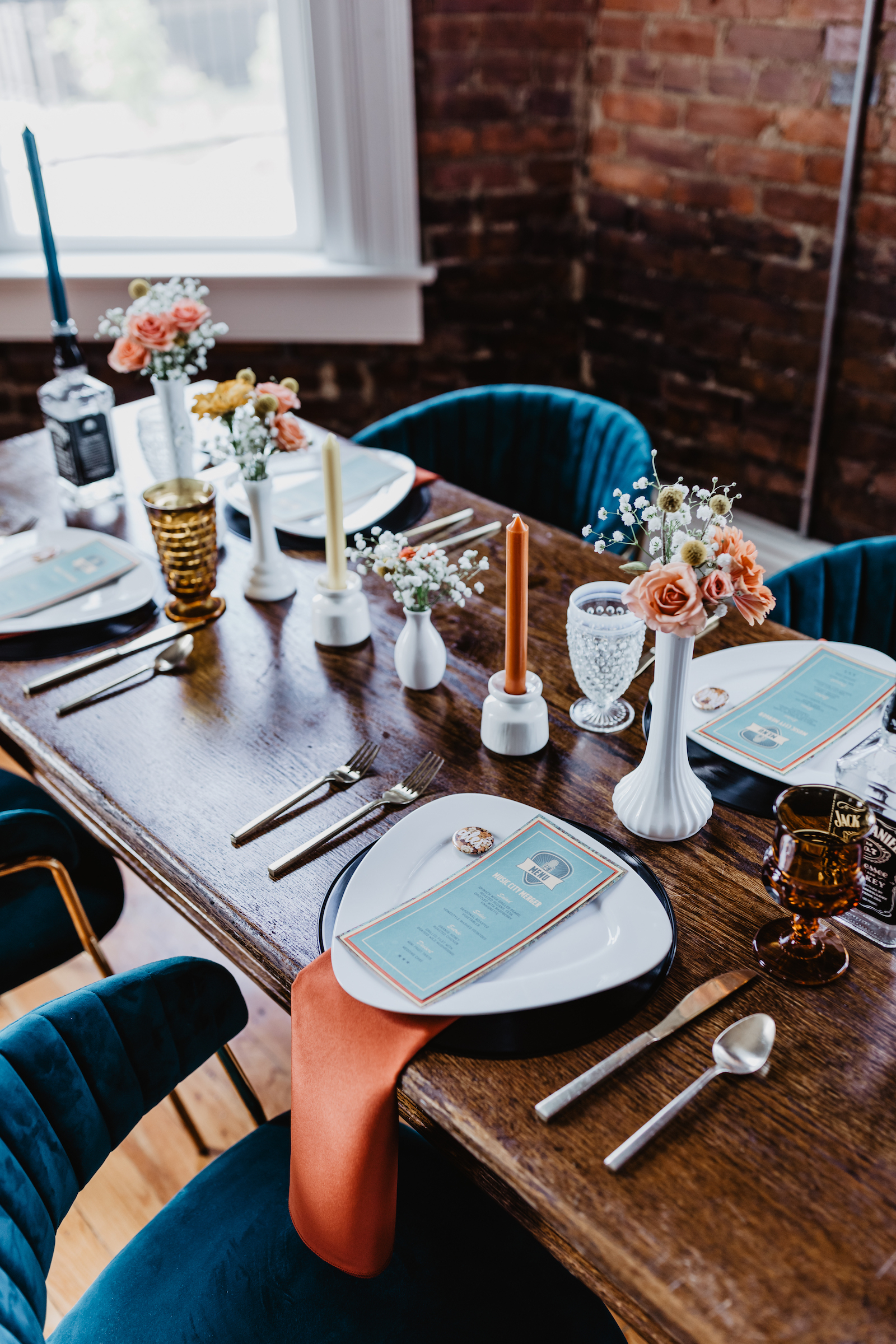 Wedding table decor: for Music City Merger styled shoot featured on Nashville Bride Guide