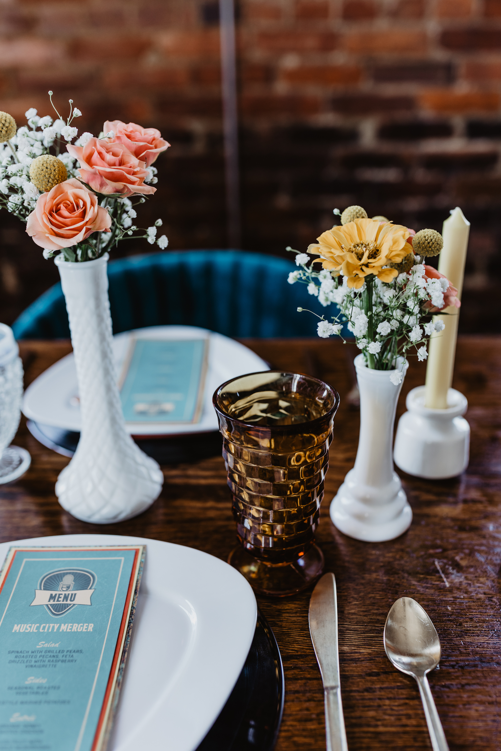 Vintage wedding goblets for Music City Merger styled shoot featured on Nashville Bride Guide