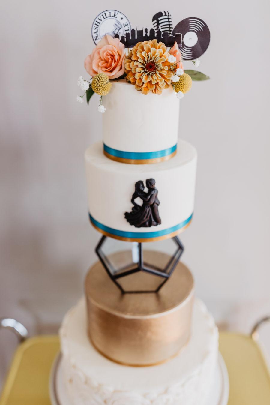 Modern wedding cake design: Music City Merger Styled Shoot featured on Nashville Bride Guide