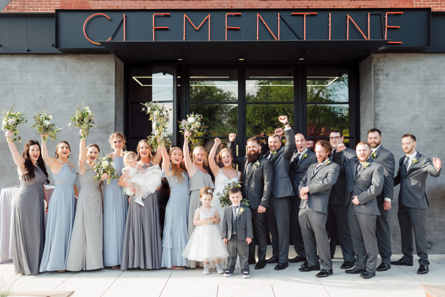 Wedding party photo ideas: Nashville wedding at Clementine featured on Nashville Bride Guide