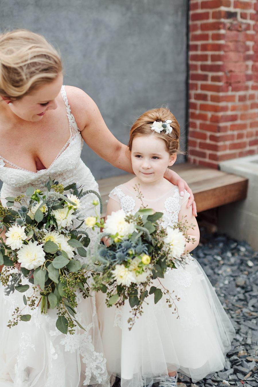 Flower girl and bride wedding photography: Nashville wedding at Clementine featured on Nashville Bride Guide