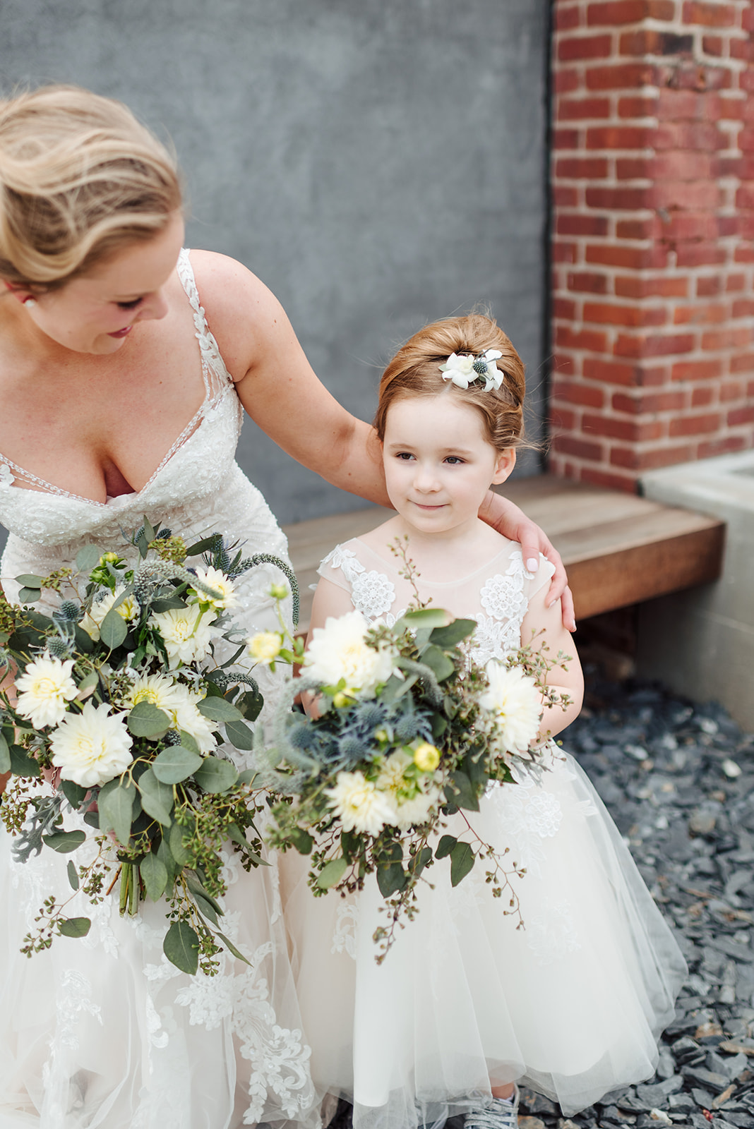 Flower girl and bride wedding photography: Nashville wedding at Clementine featured on Nashville Bride Guide