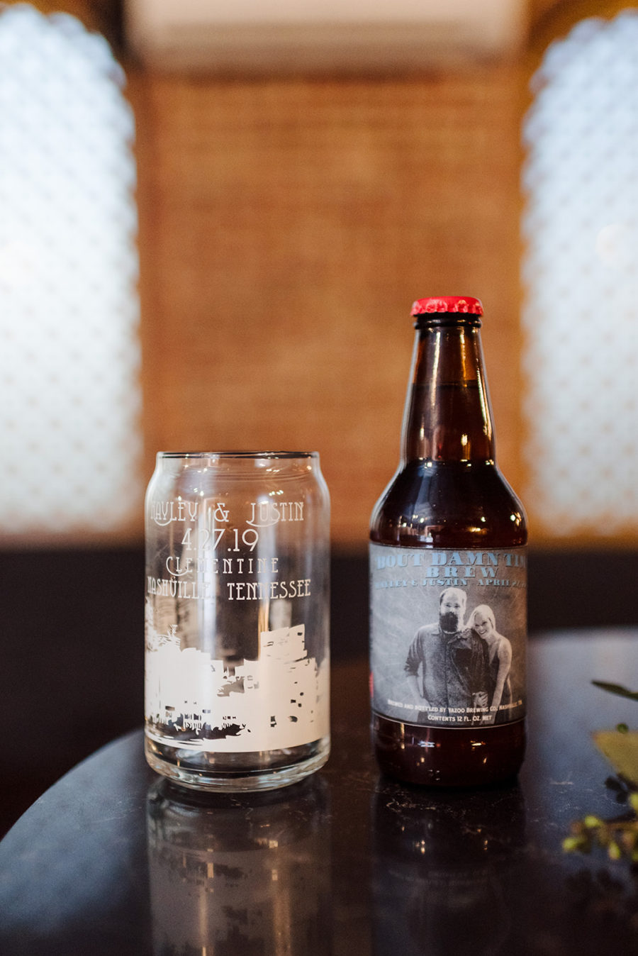 Customized wedding beer and beer glasses: Nashville wedding at Clementine featured on Nashville Bride Guide