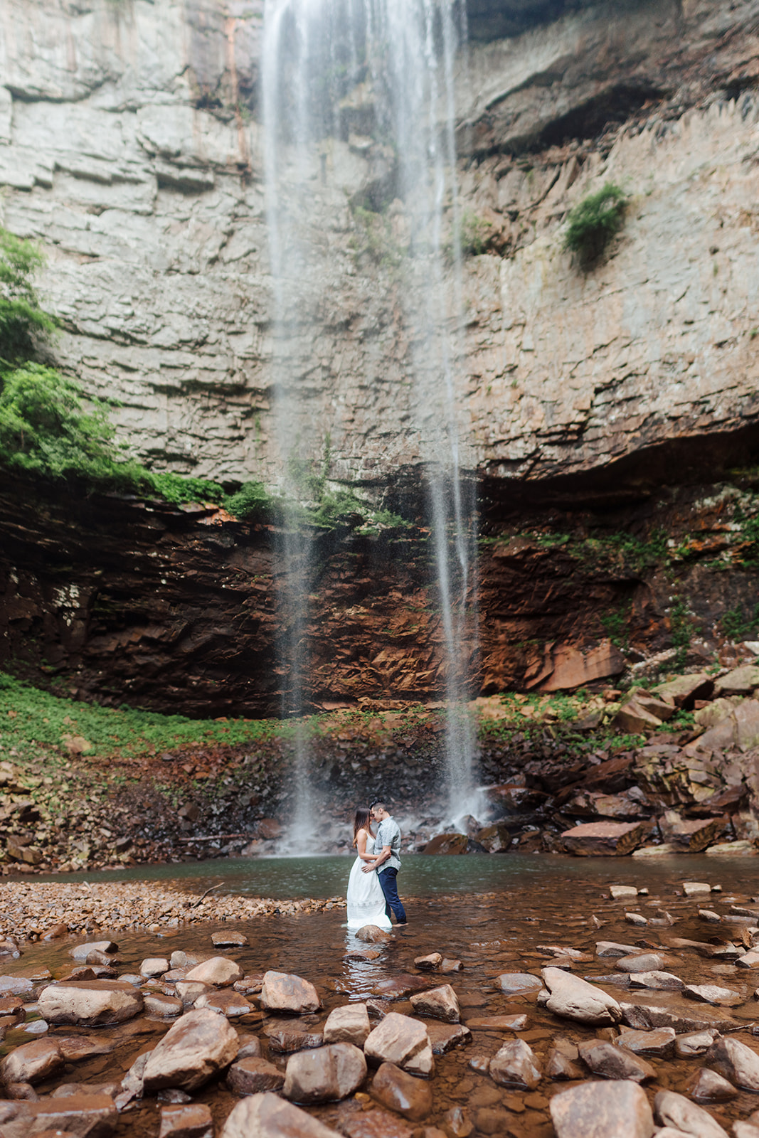 Waterfall engagement session featured on Nashville Bride Guide
