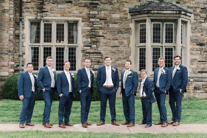 Navy groomsmen suits: Bell Tower Wedding featured on Nashville Bride Guide