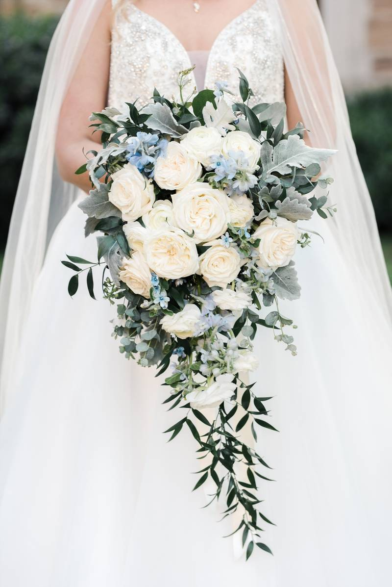 Blue and white wedding bouquet: Bell Tower Wedding featured on Nashville Bride Guide