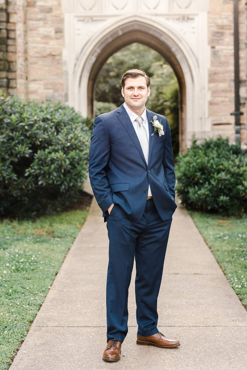 Navy grooms suit: Bell Tower Wedding featured on Nashville Bride Guide