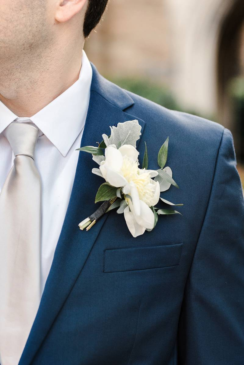 White wedding boutonniere: Bell Tower Wedding featured on Nashville Bride Guide