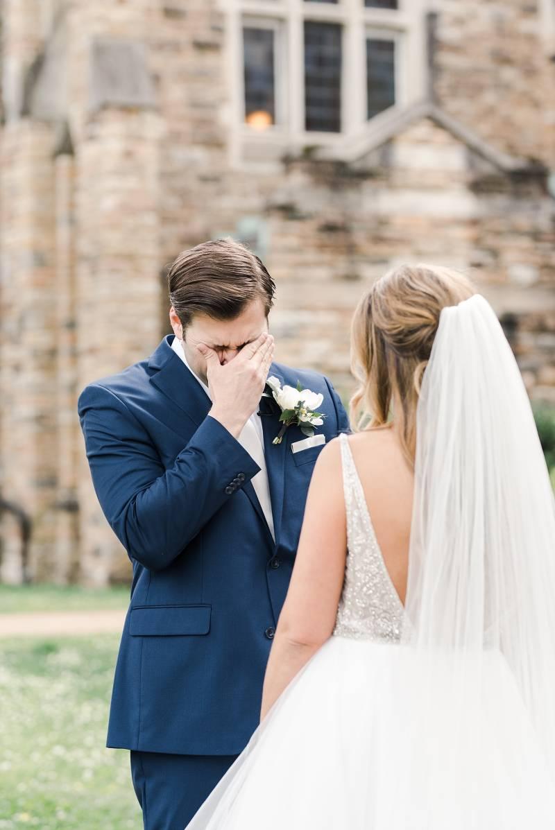 Nashville wedding first look: Bell Tower Wedding featured on Nashville Bride Guide