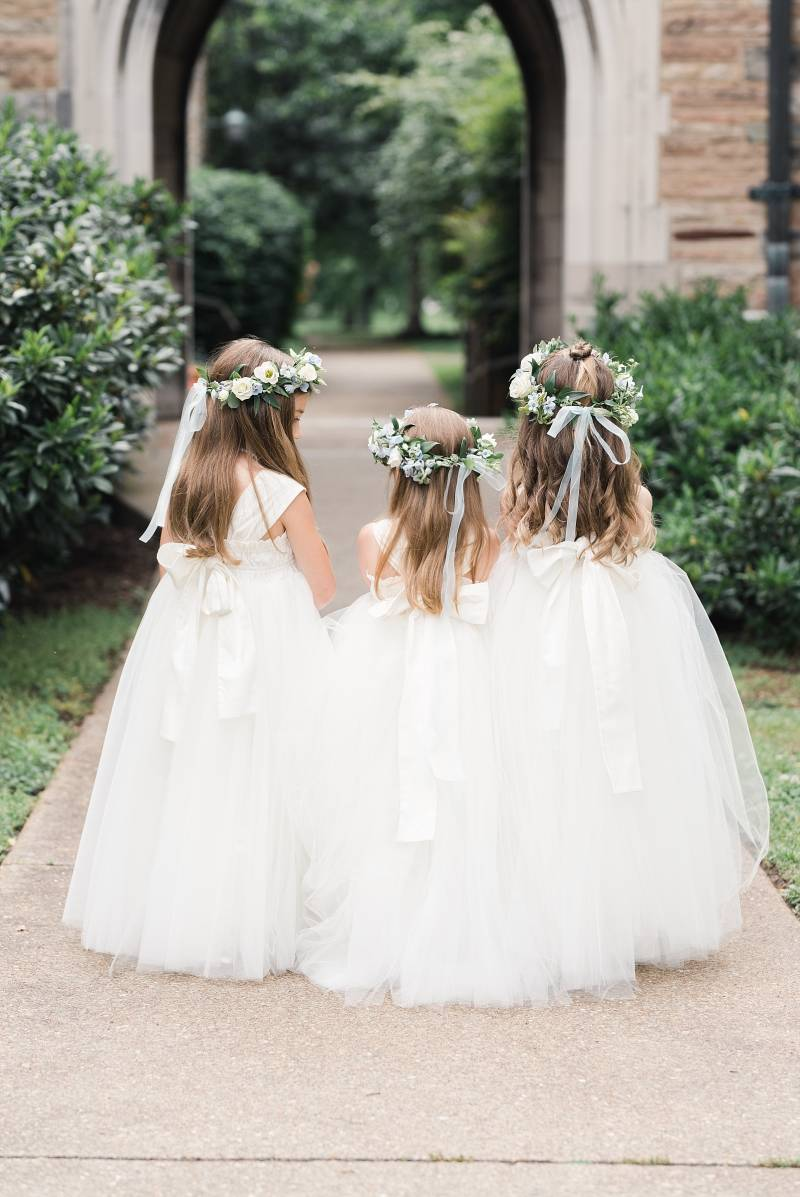 Flower girl dresses: Bell Tower Wedding featured on Nashville Bride Guide