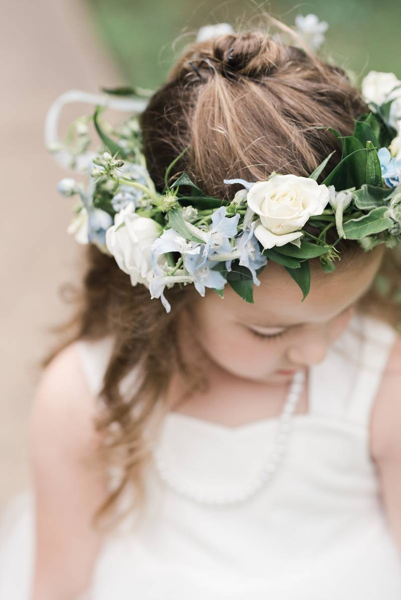 Flower girl flower crown: Bell Tower Wedding featured on Nashville Bride Guide