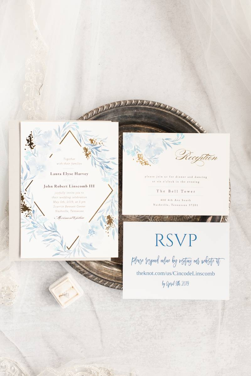 Light blue and gold wedding invitation suite: Bell Tower Wedding featured on Nashville Bride Guide
