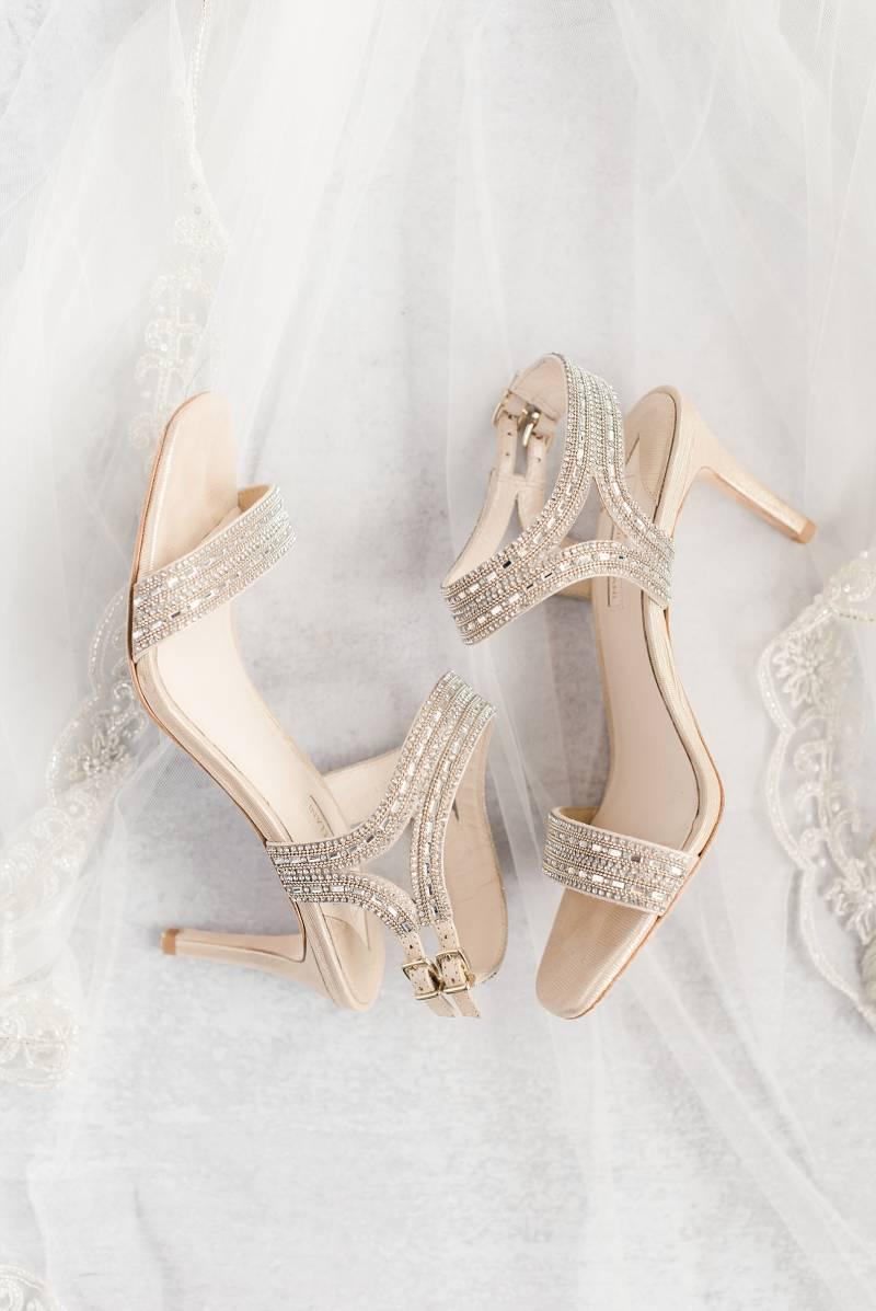 Gold embellished wedding shoes: Bell Tower Wedding featured on Nashville Bride Guide