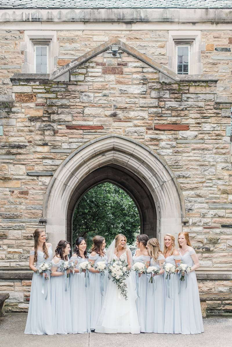 Light blue bridesmaid dresses: Bell Tower Wedding featured on Nashville Bride Guide