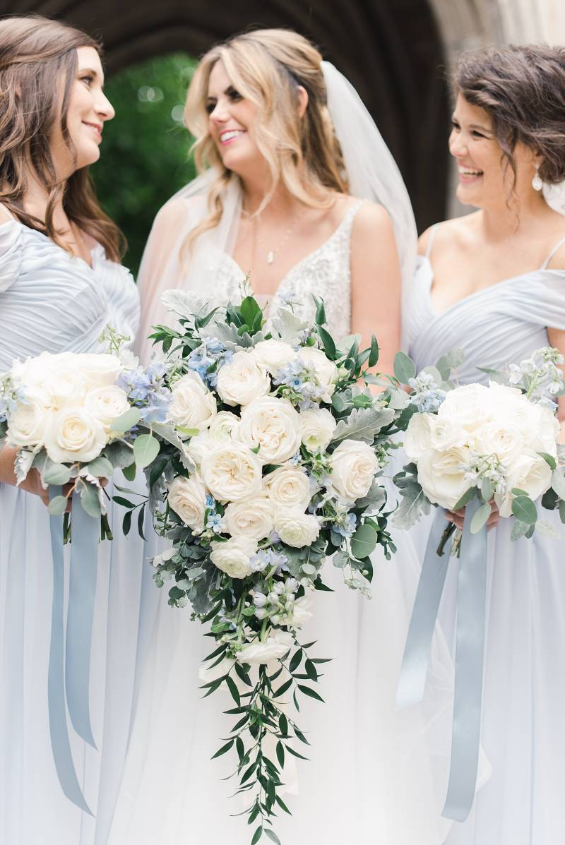 Blue and white wedding bouquets: Bell Tower Wedding featured on Nashville Bride Guide